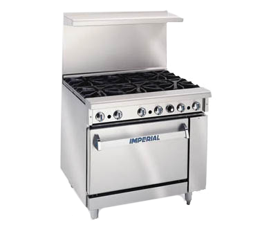 "Imperial IR-6 Restaurant Range, gas, 36"", (6) open burners, standard oven"