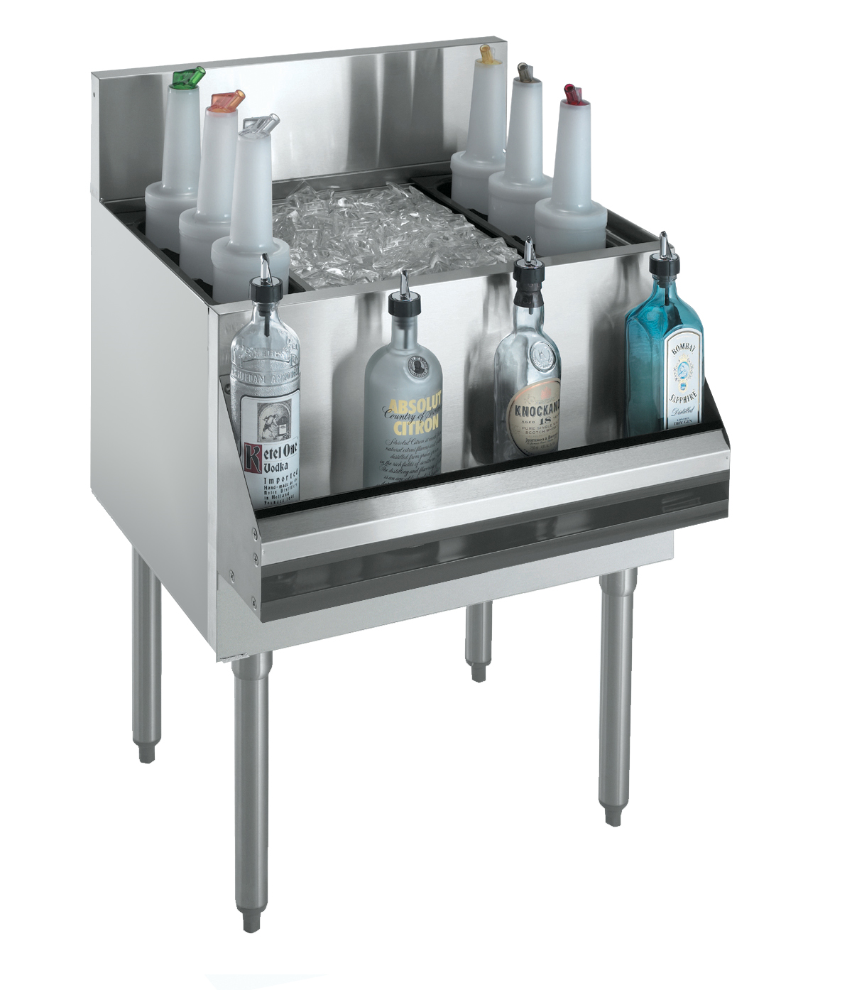 "Krowne KR18-48DP-10 Royal Series Underbar Ice Bin/Cocktail Unit, built-in 10-circuit cold plate, 48""W x 19""D, NSF"