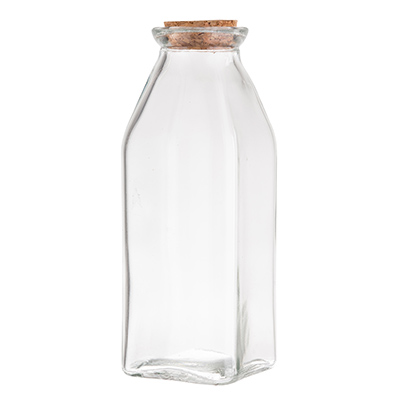 TableCraft Products H92005, Glass Milk Jar, 11-3/4 oz., with Cork