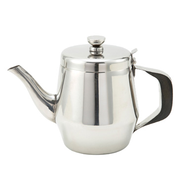 Winco JB2932 Teapot, 32 oz., gooseneck, hinged top, handle, stainless steel, mirror finish