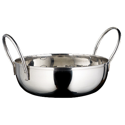 "Winco KDB-5 Kady Bowl, 20 oz., 5"" dia. x 1-1/2""H, round, with welded handles, stainless steel, mirror finish"