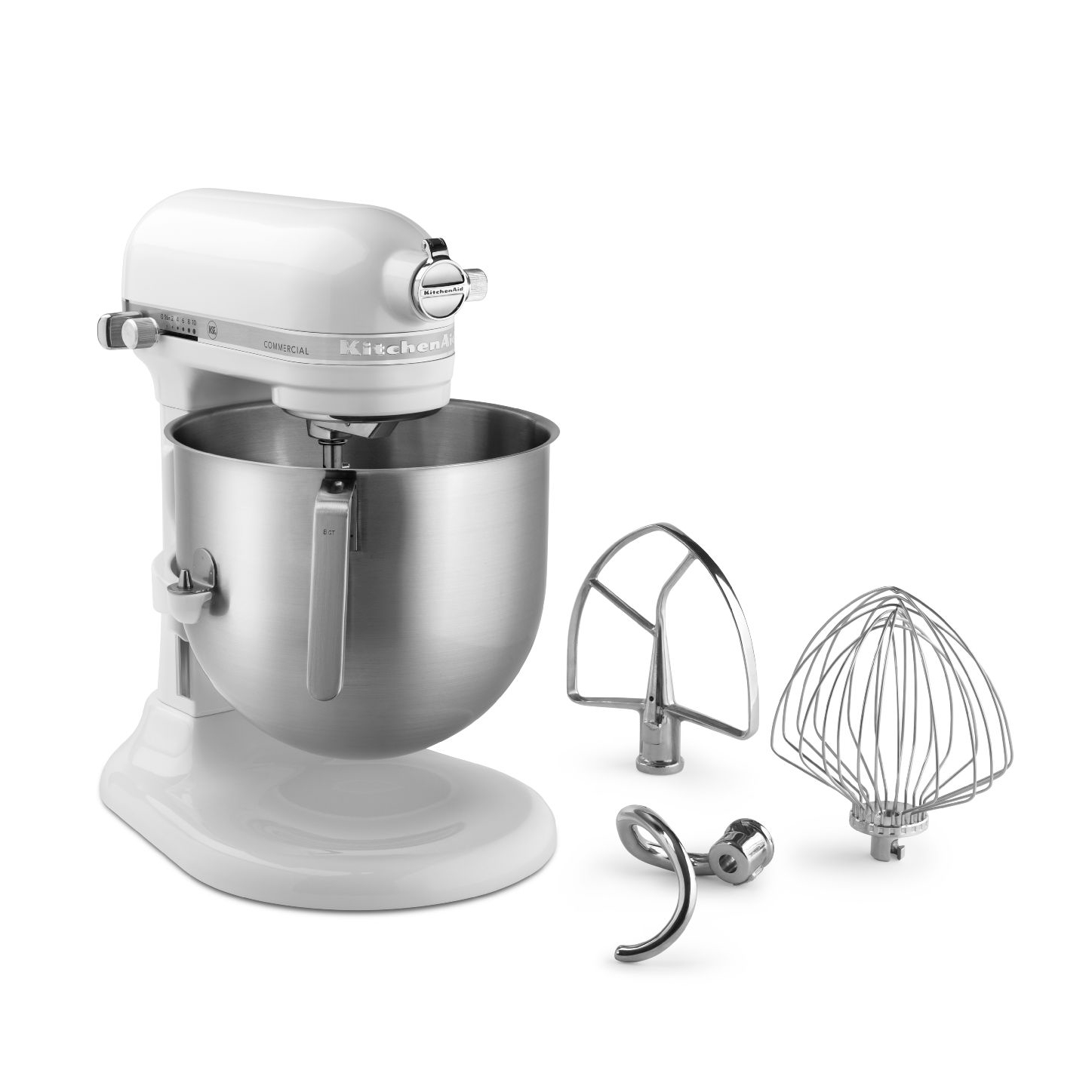KitchenAid® KSM8990WH Commercial Stand Mixer, countertop, 8 quart bowl with lift, PowerCore® technology, white finish, 500 watts, 1-1/3 HP, 120v/60/1-ph, 4' cord, cULus, NSF
