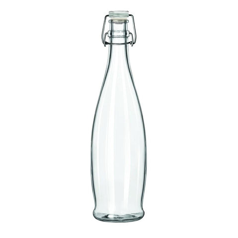 Libbey 13150034, 1-Liter Glass Water Bottle With Clear Wire Bail Lid