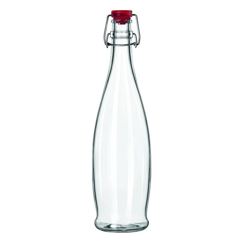 Libbey 13150035, 1-Liter Glass Water Bottle With Red Wire Bail Lid