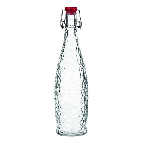 Libbey 13150121, 1-Liter Glacier Water Bottle With Red Clamp Top Lip, Glass