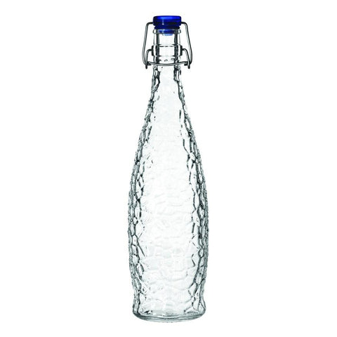 Libbey 13150122, 1-Liter Glacier Water Bottle With Blue Clamp Top Lip, Glass