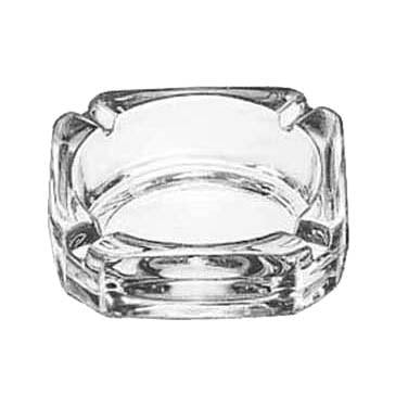"Libbey 5143 Ash Tray, 3-3/4"" Square, Clear Glass"