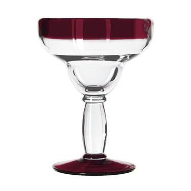 Libbey 92308R Aruba 12 oz. Margarita Glass With Red Rim And Base