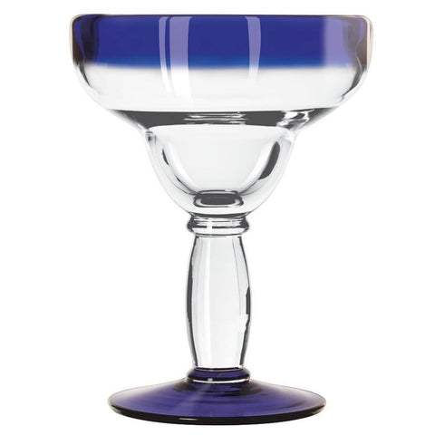 Libbey 92308 Aruba 12 oz. Margarita Glass With Cobalt Blue Rim And Base