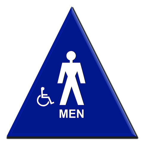 Lynch MR-12, Triange Mens Bathroom Sign With Accessible Symbol, Blue