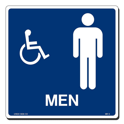 "Lynch MR-5, Square Mens Restroom Sign With Accessible Symbol, Blue, 9"" x 9"""