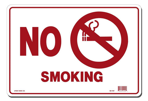 "Lynch SS-1SY, No Smoking with Symbol, Red and White, 14"" x 10"""