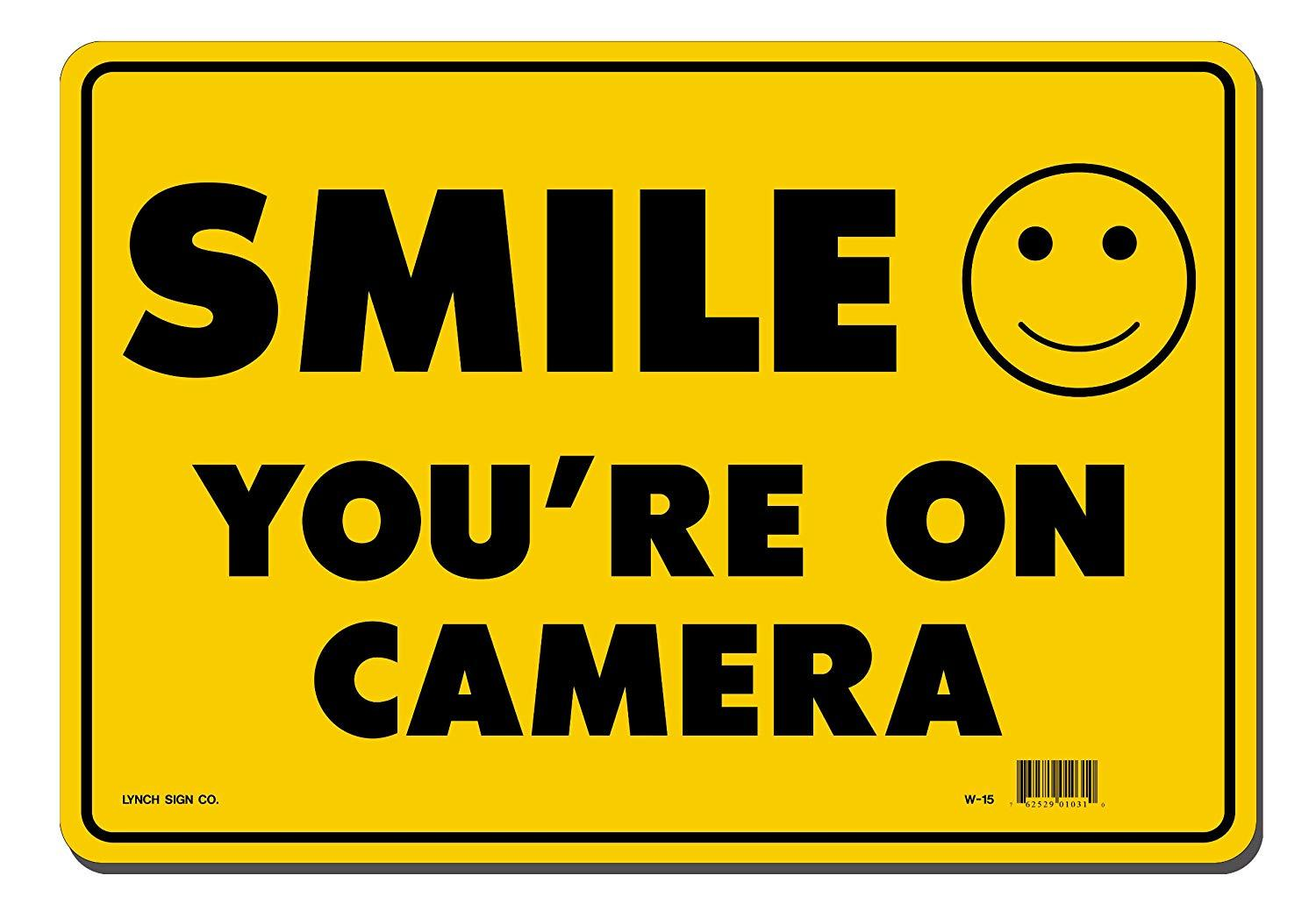 "Lynch W-15, Smile You're On Camera, Yellow, 14"" x 10"""