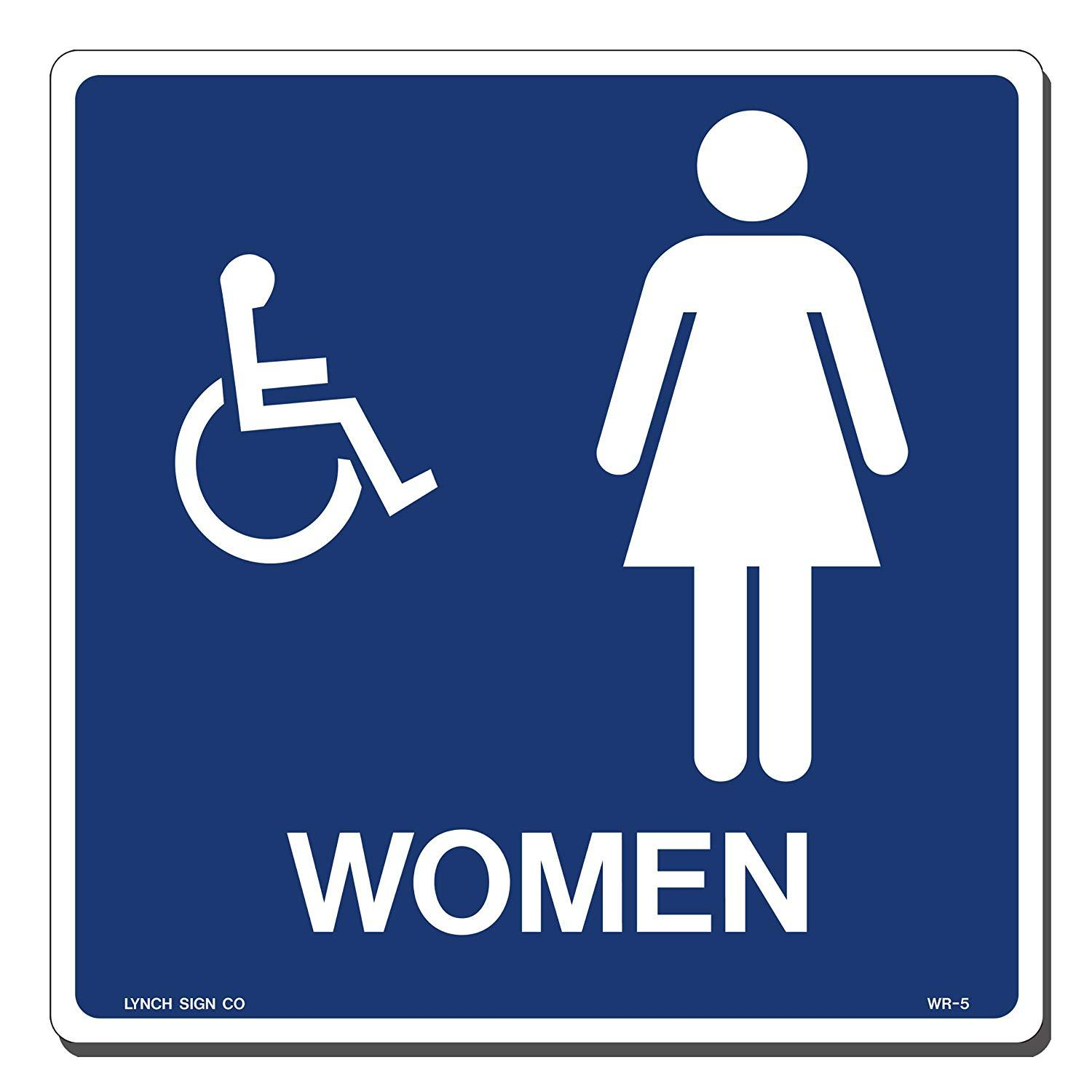 "Lynch WR-5, Women Accessible Bathroom, Blue and White, 9"" x 9"""