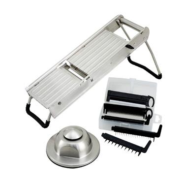 "Winco MDL-15 Mandoline Slicer Set, 15-1/2"" x 4-15/16"", with (5) interchangeable blades and handguard, stainless steel"