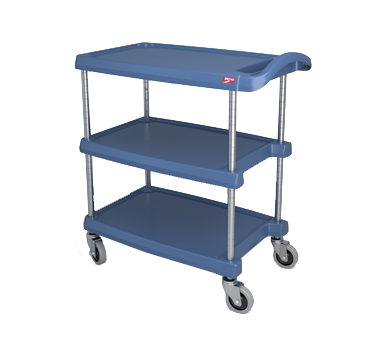 "Metro myCart MY1627-34BU Blue Antimicrobial Utility Cart with Three Shelves and Chrome Posts - 18"" x 32"""