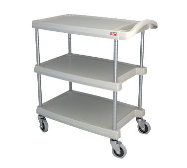 "Metro myCart MY1627-34G Gray Utility Cart with Three Shelves and Chrome Posts - 18"" x 32"""