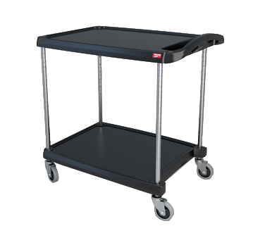 "Metro myCart MY2030-24BL Black Utility Cart with Two Shelves and Chrome Posts - 24"" x 34"""