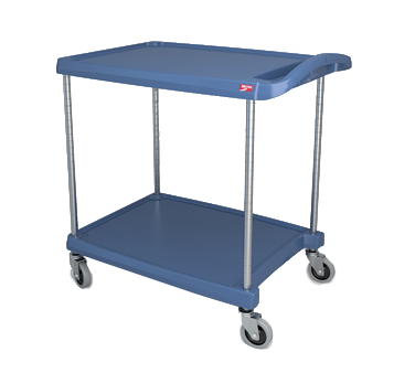 "Metro myCart MY2030-24BU Blue Antimicrobial Utility Cart with Two Shelves and Chrome Posts - 24"" x 34"""
