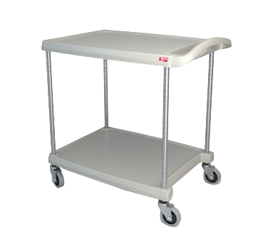 "Metro myCart MY2030-24G Gray Utility Cart with Two Shelves and Chrome Posts - 24"" x 34"""