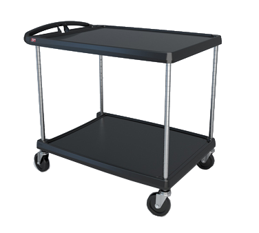 "Metro myCart MY2636-25BL Black Utility Cart with Two Shelves and Chrome Posts - 28"" x 40"""