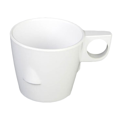 Thunder Group ML9011W Nustone 7 oz. White Stackable Melamine Cup