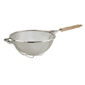 "Winco MST-10RB 10.5"" Stainless Steel Medium Double Mesh Strainer with Reinforced Bowl"