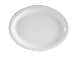 "CAC China NCN-13 Clinton Platter, 11-1/2""L x 9-1/8""W x 1""H, oval, narrow rim, 1dz Per Case"