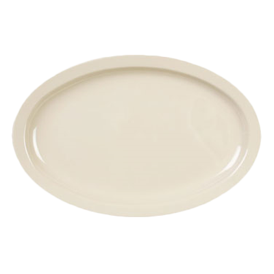 "Thunder Group NS512T Nustone Tan Melamine Oval Platter Narrow Rim 11-1/2"" x 8"""