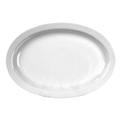 "Thunder Group NS512W NuStone White 11-1/2"" x 8"" Melamine Narrow Rim Oval Platter"
