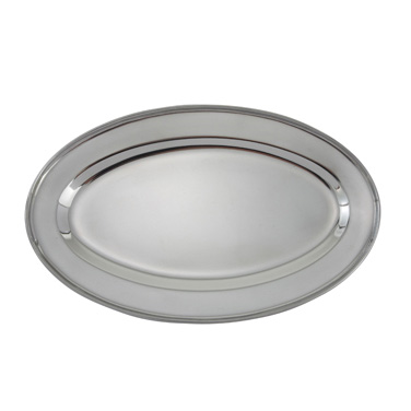 "Winco OPL-12 Platter, 11-3/4"" x 7-7/8"", oval, 18/8 heavy stainless steel"