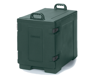 "Carlisle PC300N08 Cateraide™ Food Carrier, end loader, individual tracks, holds (8) combinations of 6"", 4"" & 2-1/2"" deep food pans, or (5) 2-1/2"" deep food pans, insulated, polyethylene, forest green, NSF"