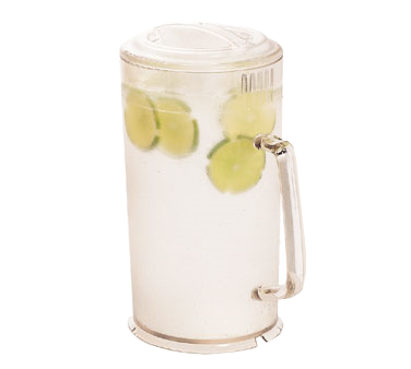 Cambro PC64CW135 Camwear Pitcher, 64 oz., 7-5/16 dia. x 9-3/4H with lid, 3-position lid, slotted base, dishwasher safe, polycarbonate, clear, NSF