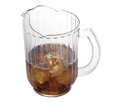 Cambro PE600CW135 Camwear Pitcher, 60 oz., 7-3/8 dia. x 7-7/8H, ice-control contoured lip, pouring spout, slotted base, dishwasher safe, polycarbonate, clear, NSF