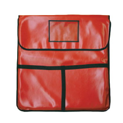 "Thunder  PLPB024 Pizza Delivery Bag, 24"" x 24"" x 5"", holds (2) 22"" pizzas, velcro fasteners, ventilation holes, foam insulated, with nylon edges, T-strap handle, red"