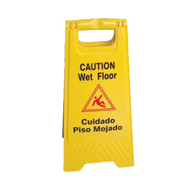 "Thunder Group PLWFC024 Safety Floor Sign, ""Caution/Wet Floor"", fold-up, dual-sided, plastic, yellow"