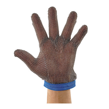 Winco PMG-1L Mesh Glove, large, reversible, wrist strap with snap & cinch fastener, rust-resistant, cut-resistance level 5, 304L stainless steel, blue