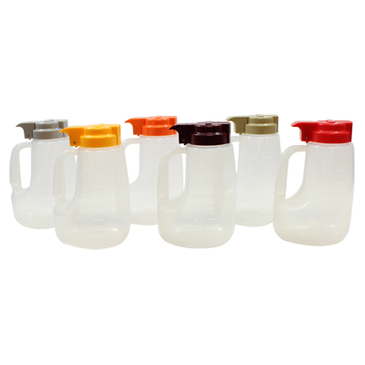 TableCraft Products PP48A Option™ Dispenser, 48 oz., assorted, includes 1 of each color: grey, beige, maroon, orange, red, and yellow, polypropylene, clear