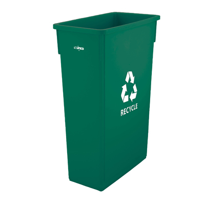 "Winco PTC-23GRC Slender Trash Can, 23 gallon, with ""Recycle"" sign, plastic, green"