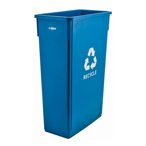 "Winco PTC-23L Slender Recycle Trash Can, 23 gal, with ""Recycle"" sign, plastic, blue (lid not included)"