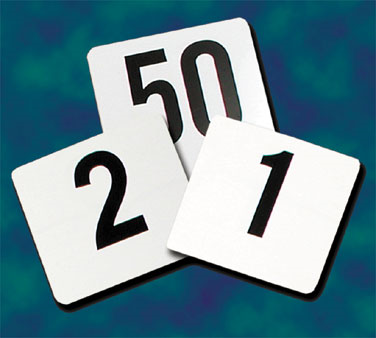 "Crown Brands PTN4/1-25 Update International™ - Table Numbers, 1 - 25, 4"" x 4"", plastic"