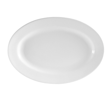 "CAC China RCN-13 Clinton Platter, 11-3/4""L x 7-7/8""W x 1""H, oval, rolled edge, 1dz Per Case"