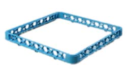 "Carlisle RE14 OptiClean™ Open Glass Rack Extender, full-size, inside height of 1.57"", snap-on, polypropylene, textured finish, blue"