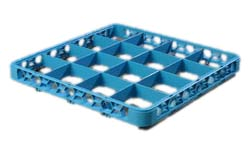 "Carlisle RE1614 OptiClean™ Divided Glass Rack Extender, 16-compartments (4-7/16"" x 4-7/16""), full-size, blue, NSF"