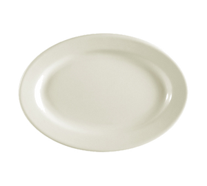 "CAC China REC-12 REC Platter, 10-3/8""L x 7-1/8""W x 1-1/4""H, oval, rolled edge, 2dz Per Case"