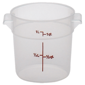 Cambro RFS1PP190 Storage Container, round, 1 qt., 6-1/16 dia. x 5H, translucent, polypropylene, NSF
