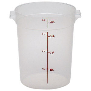 Cambro RFS4PP190 Storage Container, round, 4 qt., 8-3/16 dia. x 8-9/16H, translucent, polypropylene, NSF