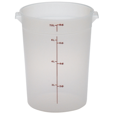 Cambro RFS8PP190 Storage Container, round, 8 qt., 9-15/16 dia. x 10-7/8H, translucent, polypropylene, NSF
