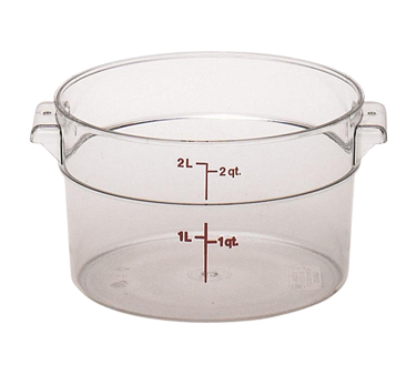 Cambro RFSCW2135 Camwear Storage Container, round, 2 qt., 8-3/16 dia. x 4-3/16H, withstands temperature of -40 F to 210 F, stain resistant, molded-in handle, durable polycarbonate construction, covers sold separately, clear, NSF