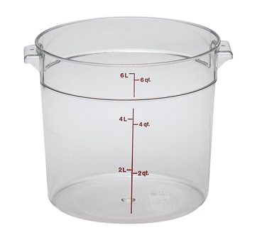 Cambro RFSCW6135 Camwear Storage Container, round, 6 qt., 9-15/16 dia. x 7-15/16H, withstands temperature of -40 F to 210 F, stain resistant, molded-in handle, durable polycarbonate construction, covers sold separately, clear, NSF